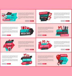 Super sale online banners gift boxes and basket vector