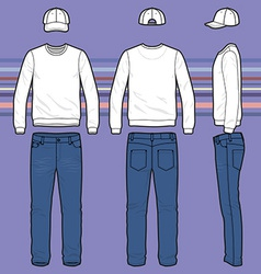 Sweatshirt cap and jeans set vector image