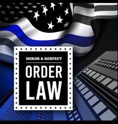 Thin blue line usa flag police symbol vector