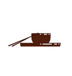 Traditional chinese cuisine chopsticks and plate vector