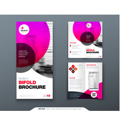 Tri fold brochure design pink business template vector