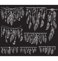 Tribal theme with feathers on black vector image