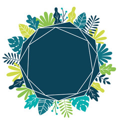 tropical leaves and plants polygon frame vector image