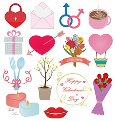 Valentines Day Icons Ornament Set vector image