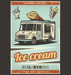 Vintage colored fresh ice cream poster vector