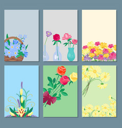 vintage floral bouquet cards garden flower vector image