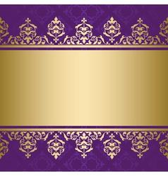 violet background with golden decorative ornament vector image