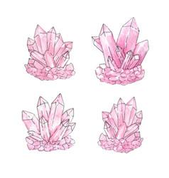 Watercolor set of pink quartz cluster crystals vector