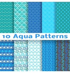 Wave different seamless patterns tiling vector image