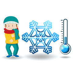 Winter theme with man in winter clothes vector