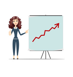 Woman pointing to the board arrow graph going up vector