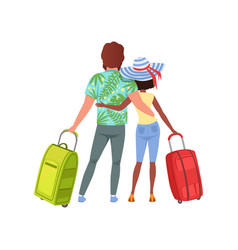 Young couple with travel bags back view man and vector