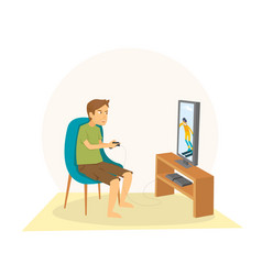 young guy sitting and playing games on his big vector image