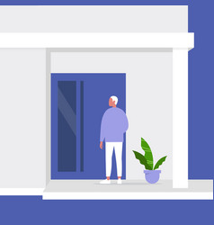 young male character standing next to a front door vector image