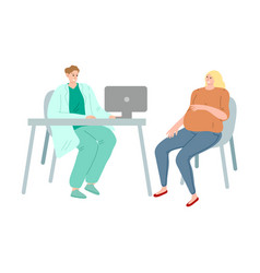 Young pregnant woman sitting at doctors visit in vector