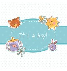 Baby born sweet boy congratulation postcard vector image vector image