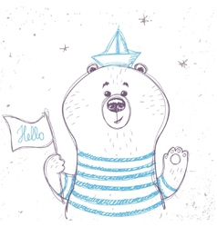 bear sailor vector image vector image