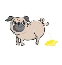 Cute pug hand drawn cartoon vector image