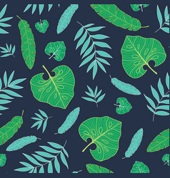 Dark tropical summer hawaiian seamless vector