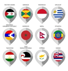 Marker from paper with flag for map - set fifteen vector