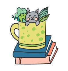 postcard with adorable kitten books and plants vector image