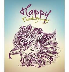 thanksgiving bird vector image vector image