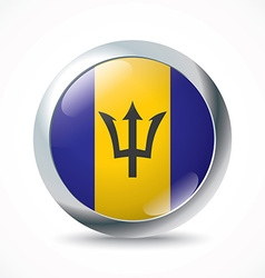 Barbados flag button vector image