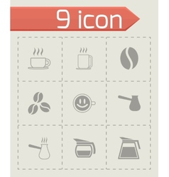 black coffee icons set vector image