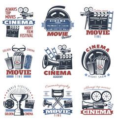 cinema emblems in color vector image