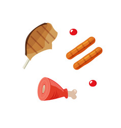 cooked meat food grilled vector image