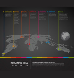infographic dark world map with pointer marks vector image
