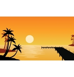 Silhouette of clump palm on seaside vector image vector image