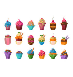 sweet cupcakes big set creamy pastries decorated vector image