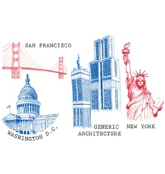 usa famous cities vector image