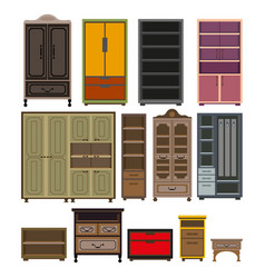 furniture cabinet and wardrobe chests vector image
