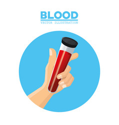 hand holding test tube blood vector image vector image