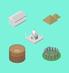 isometric architecture set of coliseum india vector image vector image