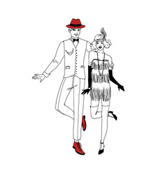 pair of smiling man and woman dressed in 1920s vector image