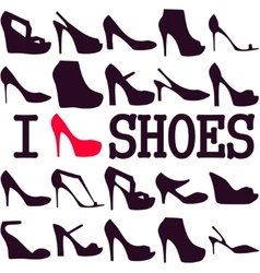 Poster I love shoes vector image