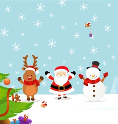 Santa with Reindeer and Snowman vector image vector image