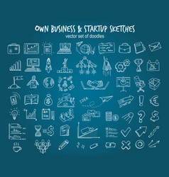 white hand drawn startup elements set vector image vector image