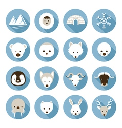 Arctic Animals Flat Icons Set vector image vector image