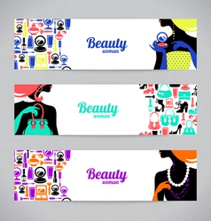 Banners with stylish beautiful shopping women vector image vector image