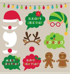 Christmas decoration and photo booth props vector