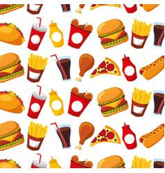 fast food menu restaurant seamless pattern design vector image