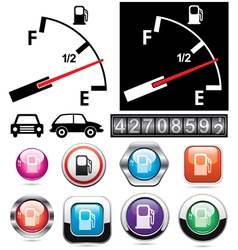 gas gauge and icons of petrol station vector image