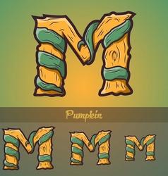 Halloween decorative alphabet - M letter vector image vector image