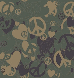 Military Camouflage Love and Pacifism sign vector image