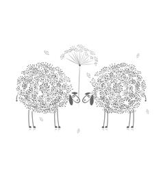 Two funny sheeps sketch for your design vector image vector image