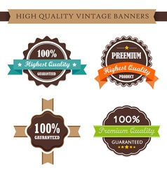 Vintage labels and ribbon retro style set vector image vector image